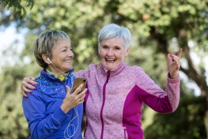 two older women taking a walk