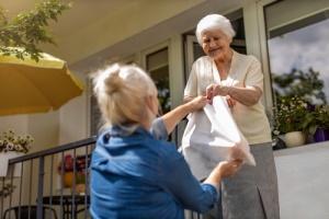 Senior Woman Delivering Food to Senior Woman