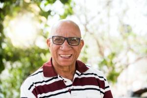 Older black man smiling