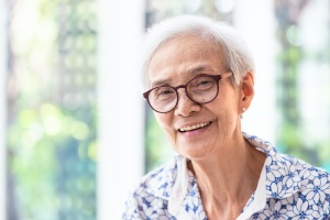 senior women happy in her home and Aging In Place