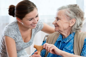 senior woman with her home caregiver for Senior Care
